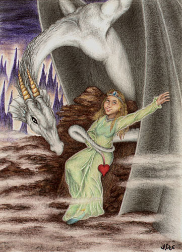 Fantasy art / comic illustration 'Valentine Dragon': A young maiden with her white Valentine dragon