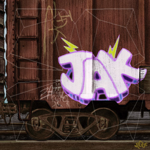 Fantasy art / comic illustration 'The Vandal': A boxcar with graffiti
