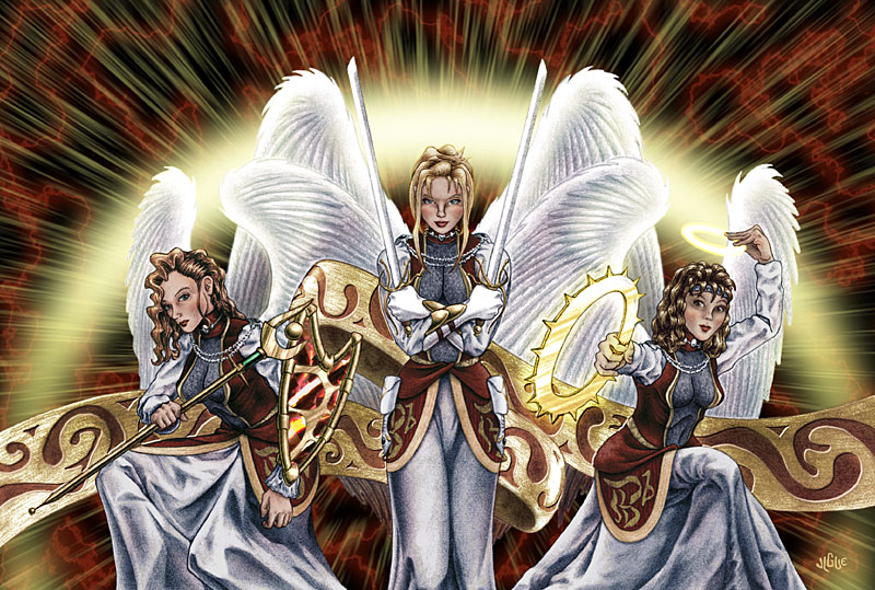 Fantasy art / comic illustration 'Vig's Angels': Bluette, Celest, and Centura as angels with weapons
