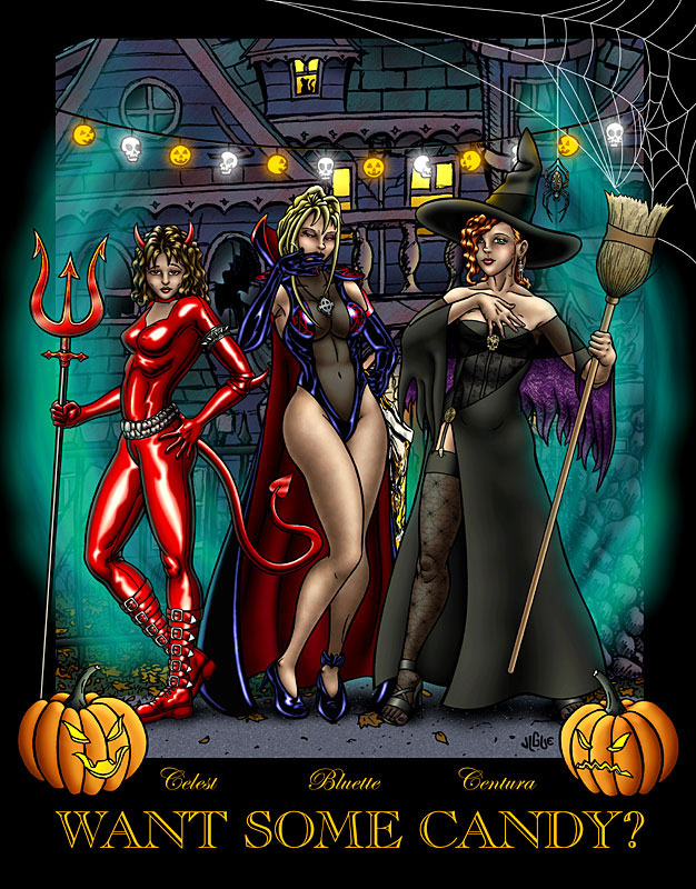 Fantasy Art and Comics: Bluette, Celest, and Centura dress for Halloween in sexy costumes
