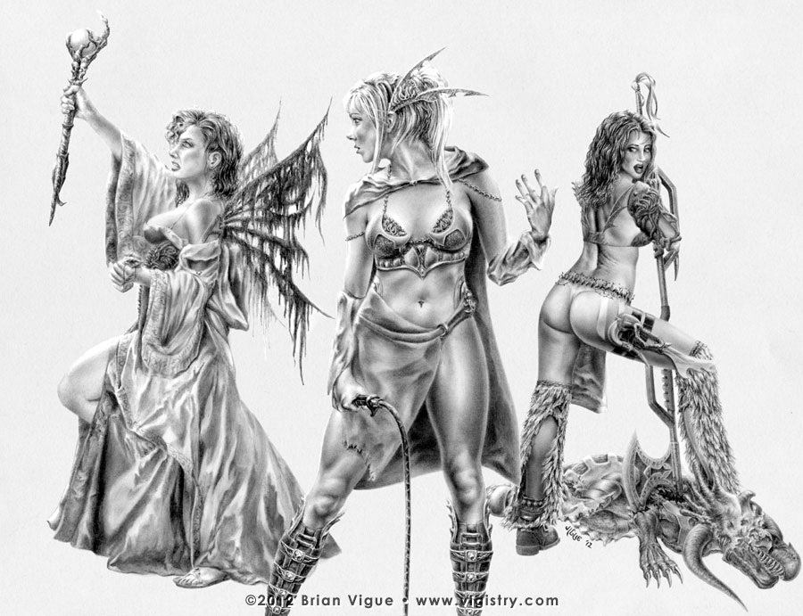 Fantasy art / comic illustration 'War Maidens': Charmer Bluette, warrioress Celest, and Sorceress Centura are the War Maidens