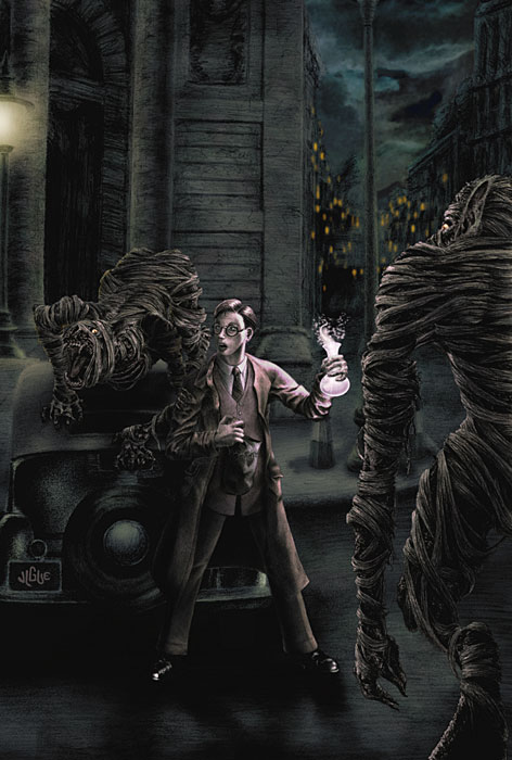 Fantasy art / comic illustration 'A-oooo': Egyptian werewolf mummies outside the Bank of England