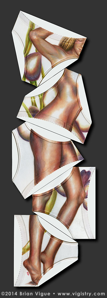 Fantasy art / comic illustration 'Clothespin': A nude woman painted on panties