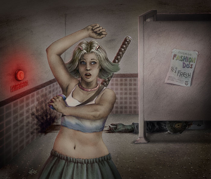 Fantasy Art and Comics: A teenage girl puts on deodorant in a zombie restroom