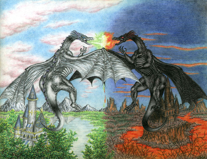 Fantasy art / comic illustration 'Yinyang': A white dragon and black dragon fight for balance