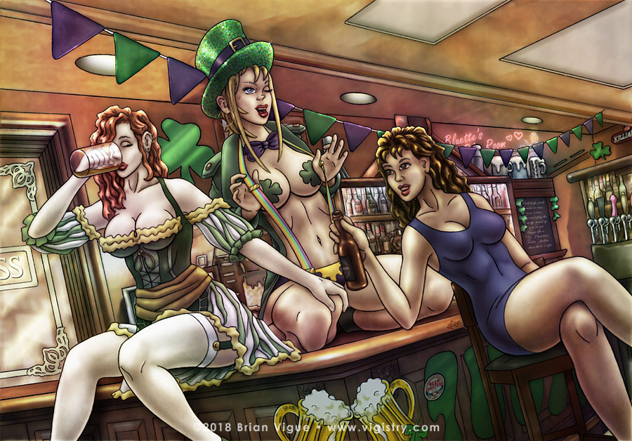 Fantasy art / comic illustration 'Your Lucky Day': Bluette flashes her boobs for a sexy Saint Patrick's Day