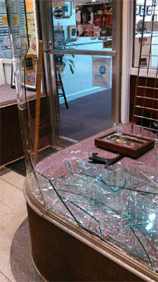 Glass broken by a drunk idiot