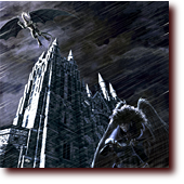 Fantasy Art: Acid Rain: A falcon cyborg stands outside a cathedral in the rain