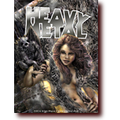 "Fantasy Art entitled ""Darkness: Heavy Metal Edition"": Sexy necromancer and gargoyle Heavy Metal cover design"