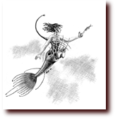 "Pencil Drawings entitled ""Anglermaid"": A deep-sea angler mermaid"
