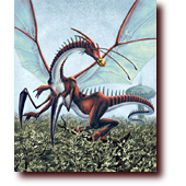 "Fantasy Art entitled ""Artist"": A dragon-mantis mutation named Artist"