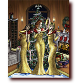 "Bluette Pinups entitled ""Babe Christmas"": Bluette, Celest, and Centura celebrate an elegant Christmas with a warm fireplace and huge tree"