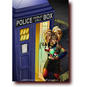 "Comic Illustrations entitled ""Bad Wulfie"": Apocrypha's Wulfie impersonates a certain Doctor Who companion, with sonic screwdriver and Tardis"