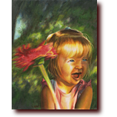 "Miscellaneous Art entitled ""Brooklin"": A little girl waving a flower"