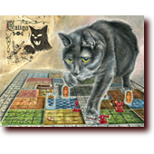 "Miscellaneous Art entitled ""Caligo, Dungeon Destroyer"": Caligo the cat tromps over a Heroquest game board dungeon"