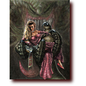 "Fantasy Art entitled ""Captive?"": A wicked-looking damsel sitting captive in a dragon's claw"