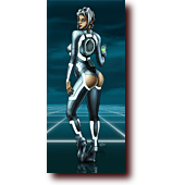 "Bluette Pinups entitled ""Crack Copy"": Bluette dressed as a Tron Legacy siren"