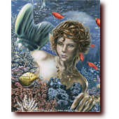 "Fantasy Art entitled ""The Mermaid's Den"": A mermaid in a coral reef observes a hermit crab"