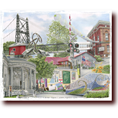 "Colored Pencil Art entitled ""Downtown Waterville, Maine"": The Two Cent Bridge, Opera House, Old Post Office, Lebanese Mural, and Oh Courant in Downtown Waterville, Maine"