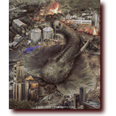 "Featured Work entitled ""Wasteland Fish and Game"": Fish crossed with game: an elephant-stingray mutation flounders through an industrial valley."