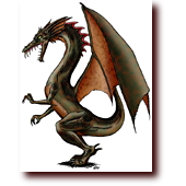 "Dragons entitled ""Green Dragon '99"": A green dragon, comic style"