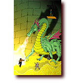 "GvM Pictures entitled ""In the Dragon's Lair"": Good vs. Medieval fight a green dragon inside a treasure vault"