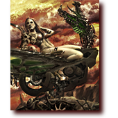 "Dragons entitled ""Heavy Metal Valkyrie"": A warrioress reclines on her motorcycle-dragon, Heavy Metal style"