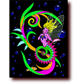"Comic Illustrations entitled ""In the Deep Marine"": A colorful seahorse mermaid"