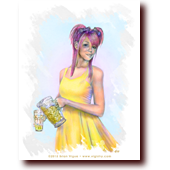 "Miscellaneous Art entitled ""Lemonade Girl"": A cute girl with pink hair and yellow dress pouring lemonade"