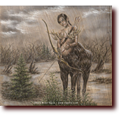 "Colored Pencil Art entitled ""Her Rack is the Last Thing You'll See"": A Maine moose centaur archer warrior woman"
