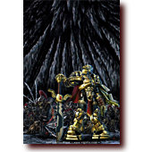 "Comic Illustrations entitled ""MechKnight Chronicles: Yo Roy, Behind You!"": Roy and a skeleton warrior army from Dinosaur Games' MechKnight Chronicles: Knightfall"