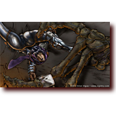 "Comic Illustrations entitled ""MechKnight Chronicles: Semi-Automatic Assassin"": Tina throws kunai at a giant skeleton warrior in Dinosaur Games' MechKnight Chronicles: Knightfall"