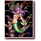 "Comic Illustrations entitled ""Mojarra"": A mermaid holding a trident"