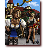 "Comic Illustrations entitled ""Ps & Qs"": Reese and Bluette, dressed as sexy bar maids, serve beer at Oktoberfest"