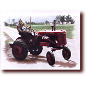 "Miscellaneous Art entitled ""Papa & Amy"": Amy and her papa riding a Farmall tractor"