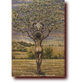 Colored Pencil Art: Her Bark is Worse Than Her Butt: A sexy dryad lifts a ram skull into her branches