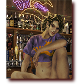 "Fantasy Art entitled ""Reese Don't Do Topless"": A pretty female bartender, but this woman is wearing no panties"