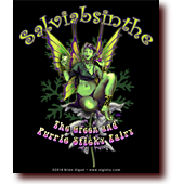 "Comic Illustrations entitled ""Salviabsinthe"": Salvia-absinthe, the green and purple sticky fairy"