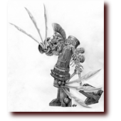 "Pencil Drawings entitled ""Skeleton Knight"": A sword-fingered skeleton knight"