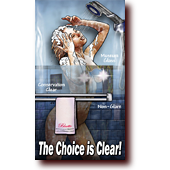 "Bluette Pinups entitled ""The Choice is Clear"": Bluette showering behind a door of framers' glass"