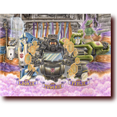 "Colored Pencil Art entitled ""Transformers: No Lookie, No Touchie, No Feelie"": Transformers Mirage, Trailbreaker, Hound, and a sexy park ranger"