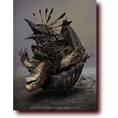 "Fantasy Art entitled ""Turtle's Bad Day"": A baby dragon hatches out of a turtle"