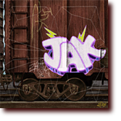 "Miscellaneous Art entitled ""The Vandal"": A boxcar with graffiti"