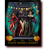 "Featured Work entitled ""Want Some Candy?"": Bluette, Celest, and Centura dress for Halloween in sexy costumes"