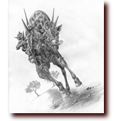 "Pencil Drawings entitled ""War Giraffe"": A goblin riding his armored war giraffe into battle"
