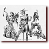 "Pencil Drawings entitled ""War Maidens"": Charmer Bluette, warrioress Celest, and Sorceress Centura are the War Maidens"