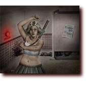 "Fantasy Art entitled ""WTF?"": A teenage girl puts on deodorant in a zombie restroom"