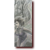 "Colored Pencil Art entitled ""ZOOM!"": A pixie runs through a cold, winter forest"